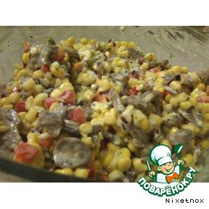 Рецепт Салат из кукурузы и грибов