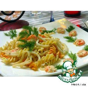 """Рецепт Кальмаро-макароны со сливочно-креветочным соусом """"Женская тайна"""""""