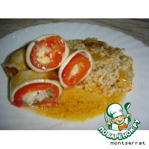 Рецепт Кальмары, фаршированные перцем и сыром