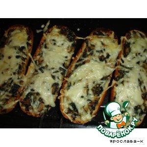 Рецепт Бутерброды со шпинатом и грибами