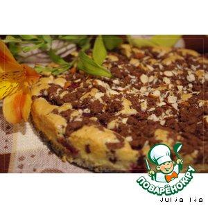 Рецепт Пирог с вишней, шоколадным штрейзелем и миндалeм