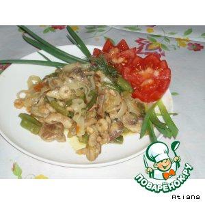 Рецепт Рисовая лапша с курицей и креветками