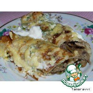 Рецепт Блинчики фаршированные грибами, куриной печенью под сливками и сырной корочкой