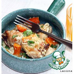 Рецепт Курица с овощами и тимьяном, запеченная в сливках