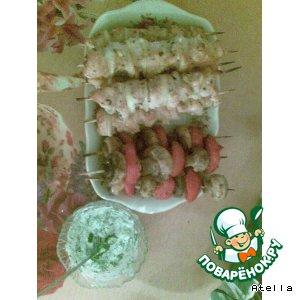 Рецепт Шашлычки куриные и овощные с соусом