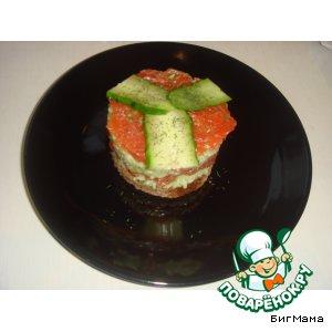 """Рецепт Слоеные бутерброды с форелью домашнего посола и заправкой на все времена """"Oт Маруси"""""""