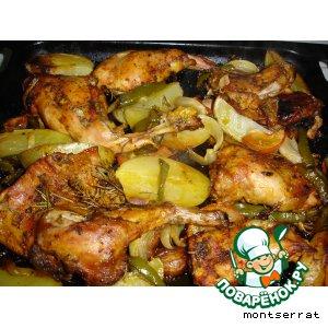 Рецепт Кролик запеченный с картофелем и овощами