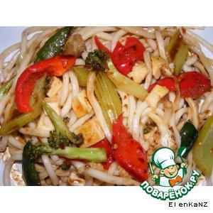 """Рецепт Лапша """"удон"""" с тофу и овощами"""