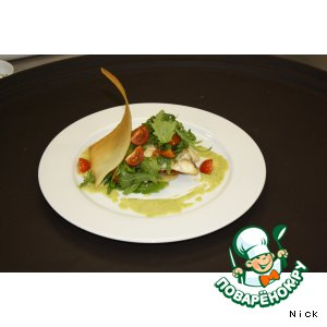 Рецепт Камбала с картофелем,  рукколой, помидорами черри  и кремом из спаржи и пастернака