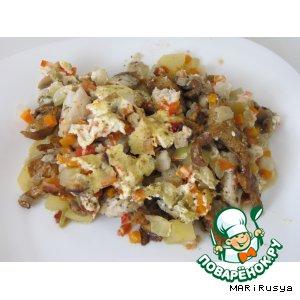 Рецепт Рыбка на картофельной подушке с овощами