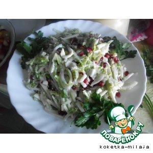 Рецепт Салат с кальмарами и зернами граната