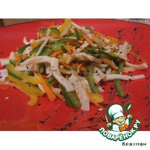 Рецепт Салат с кальмаром и перцами