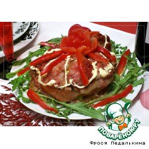 """Рецепт Свинина, фаршированная паштетом """"Цветок любви"""""""