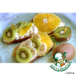 Рецепт Бутерброды с фруктами к завтраку