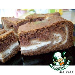 Рецепт Шоколадно-творожный пирог «Мраморное море»