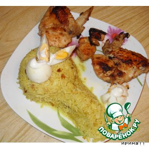 Рецепт Медовые крылышки и пряный рис с карри