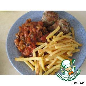 Рецепт Постное жаркое с картофелем фри