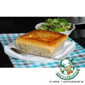 Рецепт Пирог-запеканка с курицей, грибами и овощами