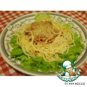 """Рецепт """"Гнездышки"""" из спагетти с ветчиной и сыром"""