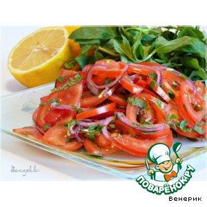Рецепт Салат из помидоров с мятой с лимонной заправкой