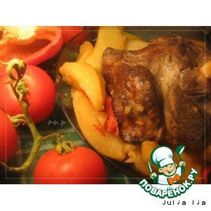 Рецепт Баранина в красном вине, с картофелем и болгарским перцем