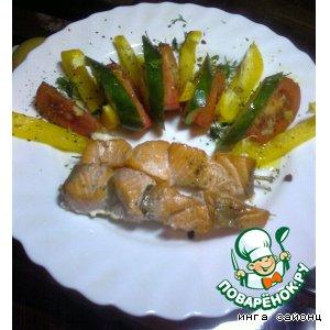 Рецепт Шашлык из семги с салатиком