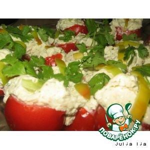 Рецепт Помидоры, фаршированные колбасным сыром