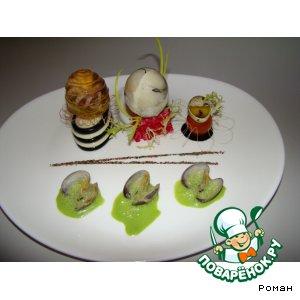 Рецепт Парфе из морских гребешков с рыбным заливным и морепродуктами, карпаччо из тигровых креветок с мятным сорбетом, в сопровождении мятного соуса и моллюс
