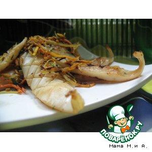 Рецепт Закуска из жареного с овощами кальмара в китайском стиле