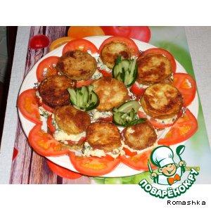 """Рецепт """"Башенки""""  из кабачков с помидорами и чесноком"""