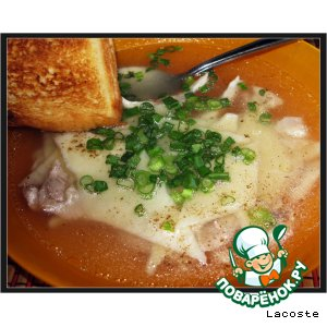 Рецепт Куриный бульон с сырными лазанками