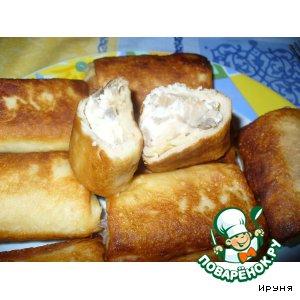 Рецепт Блинчики с курицей, шампиньонами и сыром
