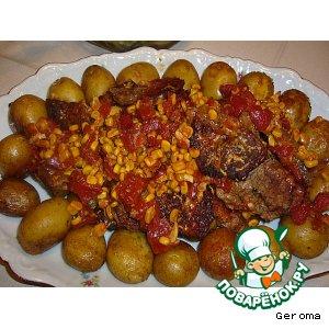 Рецепт Мясо в духовке с кукурузой и томатами