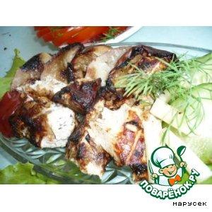 Рецепт Шашлык из куриной грудки на решетке с карамелизованными яблоками