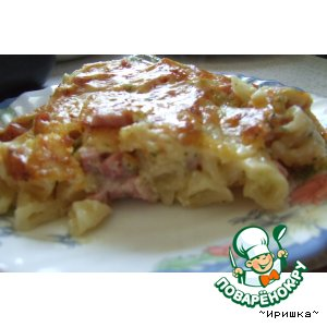 Рецепт Запеканка из макарон с ветчиной
