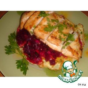 Рецепт Куриные грудки с кукурузными лепешками и свекольным гарниром