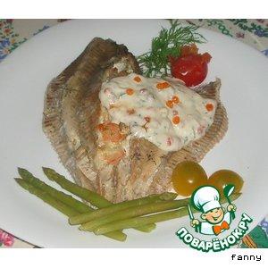 Рецепт Камбала, фаршированная креветками и сыром