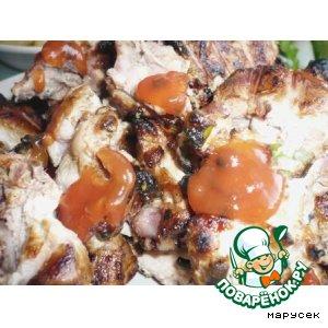 Рецепт Курица на решетке в маринаде из чесночных стрелок и закуска из кабачка