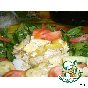 Рецепт Форель  с овощами в кефирно-сырной заливке (запеканка)