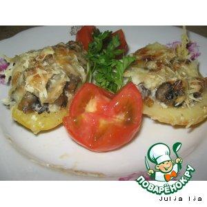 Рецепт Картофельные лодочки с грибами