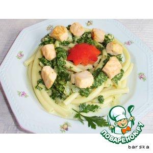 Рецепт Макароны с лососем и шпинатом
