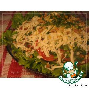 Свежий салат с грецкими орехами и сулугуни вкусный рецепт приготовления с фото пошагово готовим
