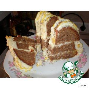 Рецепт Шоколадная ромовая баба с пропиткой из апельсинового крема