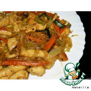 """Рецепт Китайская стеклянная лапша с соусом """"Терияки"""""""