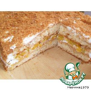 Рецепт Медовый торт с персиками
