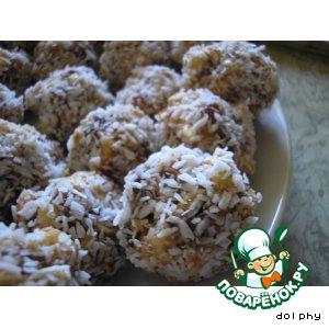 Рецепт Заварное печенье с финиками, орехами и воздушным рисом (без выпечки)