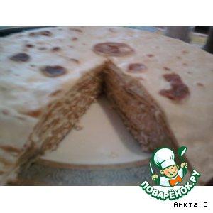 Рецепт Блинный закусочный тортик с курицей
