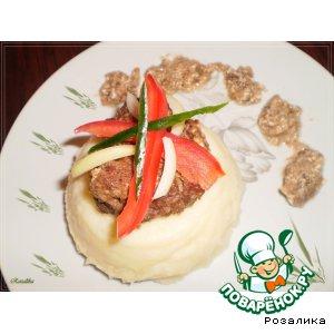 Рецепт Картофельное пюре с тушеной куриной печенкой