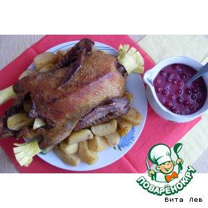 Рецепт Утка с яблочно-клюквенным соусом