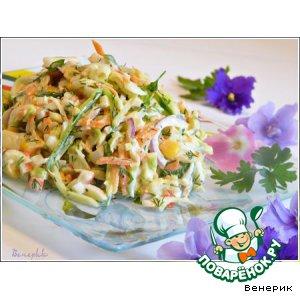 Рецепт Салат из крабовых палочек с яйцом и свежими овощами